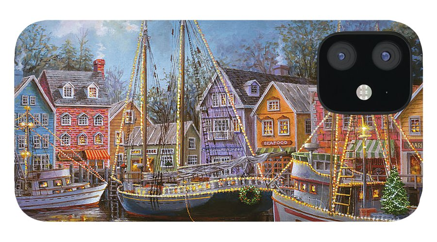 Ships Aglow IPhone 12 Case featuring the painting Ships Aglow by Nicky Boehme