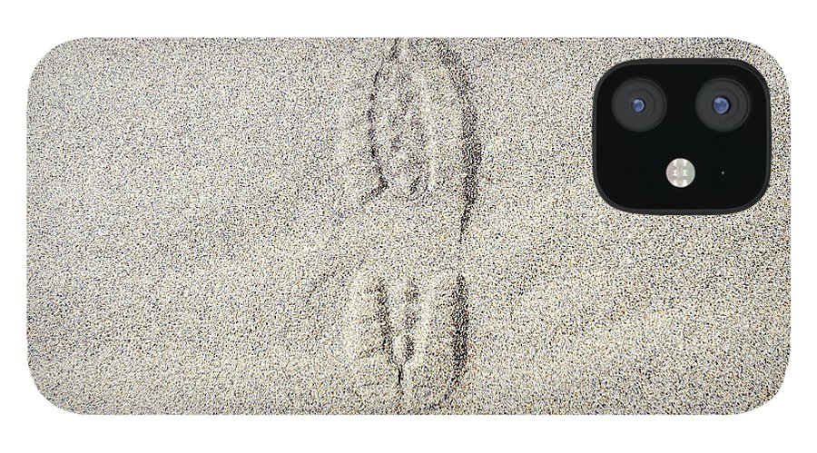 California IPhone 12 Case featuring the photograph Shoe Print In Sand by Thomas Northcut