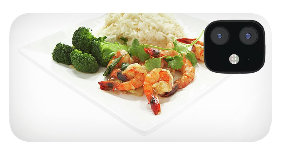 Broccoli iPhone 12 Case featuring the photograph Shrimp Stir Fry On Plate On White by Thomas Northcut