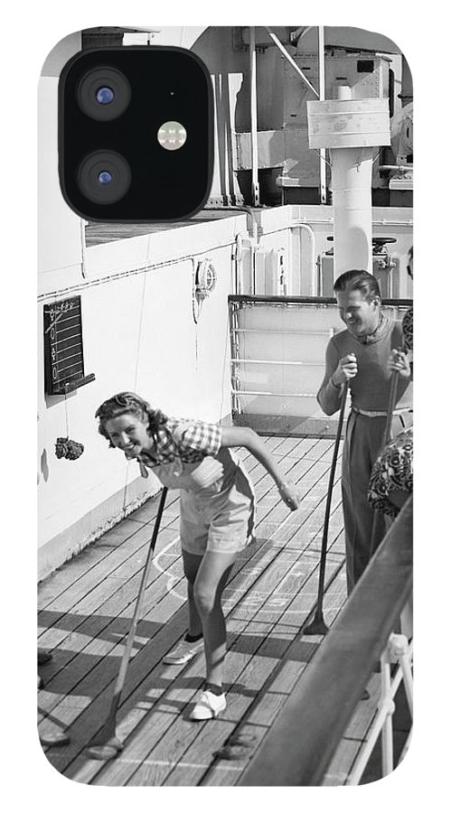 Heterosexual Couple IPhone 12 Case featuring the photograph Shuffleboard Players by George Marks