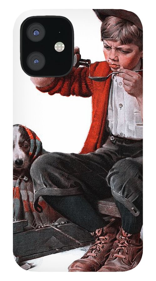 Boy IPhone 12 Case featuring the drawing Sick Puppy by Norman Rockwell