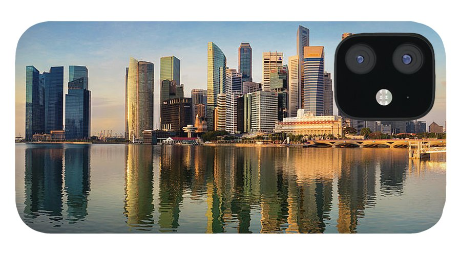 Financial District iPhone 12 Case featuring the photograph Singapore Financial Skyline, Singapore by Travelpix Ltd