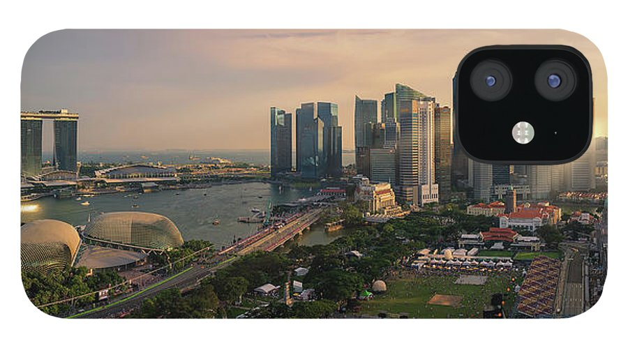 Scenics IPhone 12 Case featuring the photograph Singapore Skyline Panoramic View by Pat Law Photography