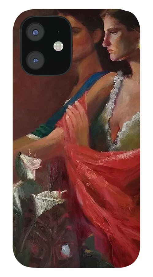 Double Portrait IPhone 12 Case featuring the painting Sisters at the Door by Irena Jablonski