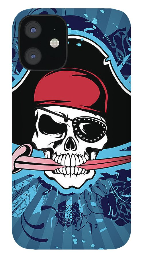 Biting IPhone 12 Case featuring the digital art Skull With Pirates Hat, Eyepatch And by New Vision Technologies Inc