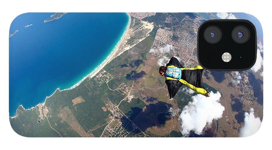 Altitude IPhone 12 Case featuring the photograph Skydive Wing Suit Over Brazilian Beach by Rick Neves