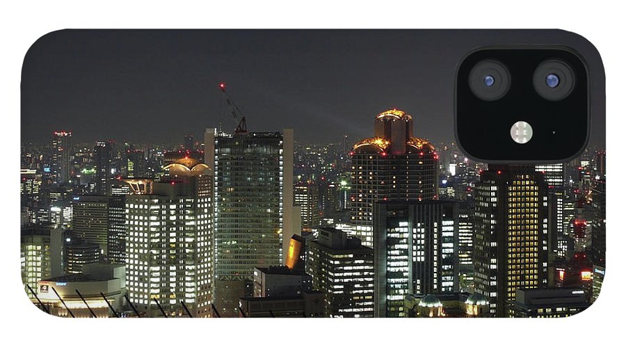 Clear Sky IPhone 12 Case featuring the photograph Skyline Of Osaka Nightscape by Alvin Law