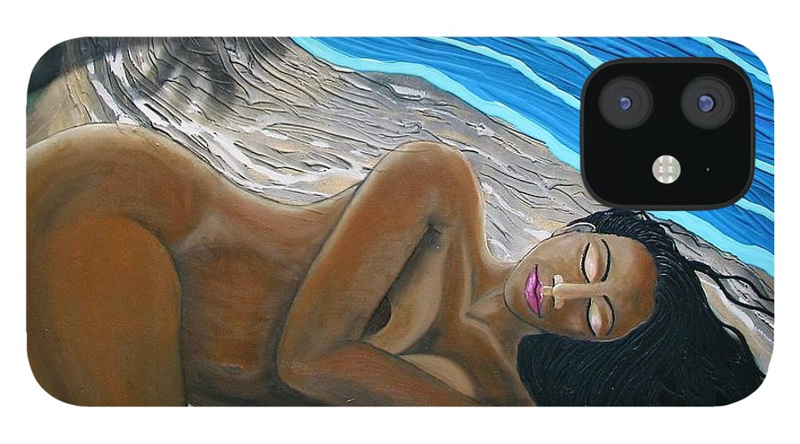 Portrait IPhone 12 Case featuring the painting Sleeping Nude by Joan Stratton