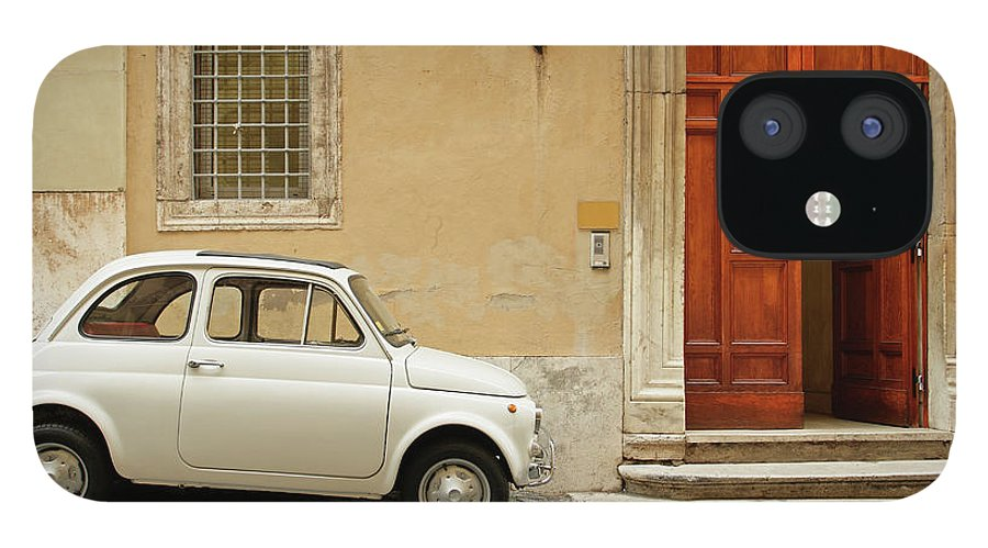 Steps IPhone 12 Case featuring the photograph Small Coupe Parked Near A Doorway On A by S. Greg Panosian