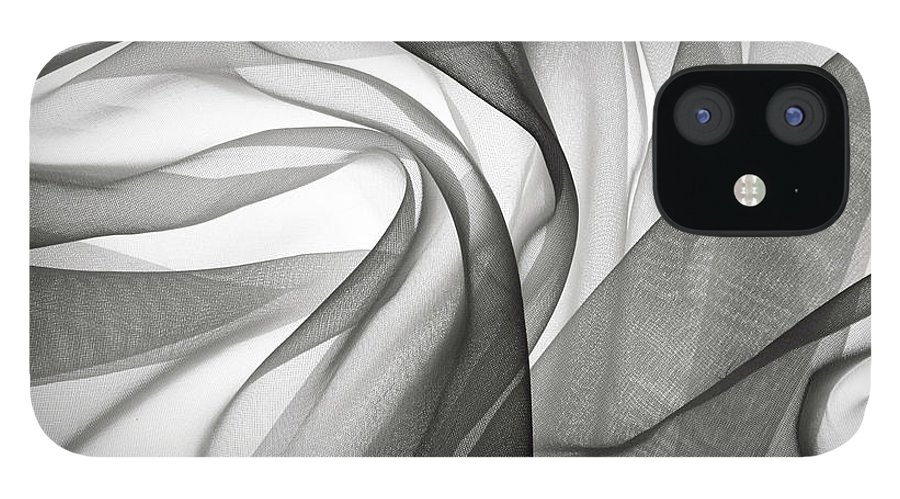 Desaturated IPhone 12 Case featuring the photograph Smoky Gauze Fabric by Jcarroll-images