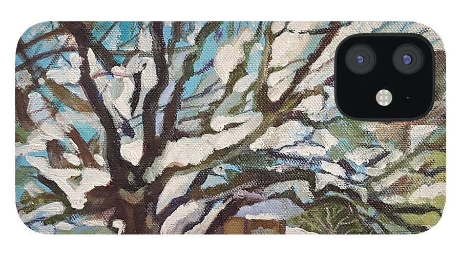 Cherry Tree IPhone 12 Case featuring the painting Snow Covered Cherry Tree by Mary Chant
