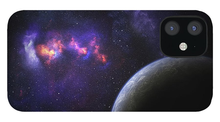 Orange Color IPhone 12 Case featuring the photograph Space Planet by Sololos