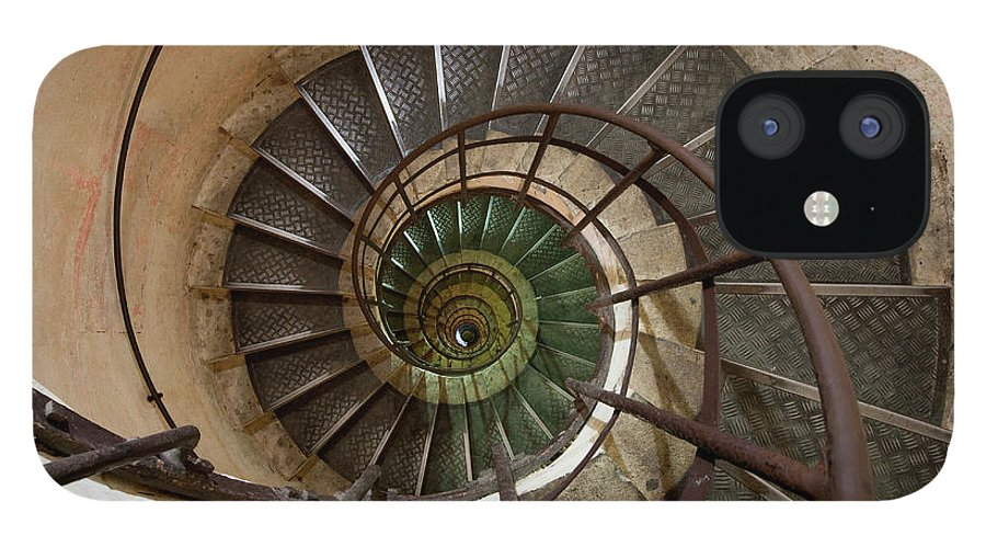 Built Structure IPhone 12 Case featuring the photograph Spiral Staircase In The Arc De by Mint Images/ Art Wolfe