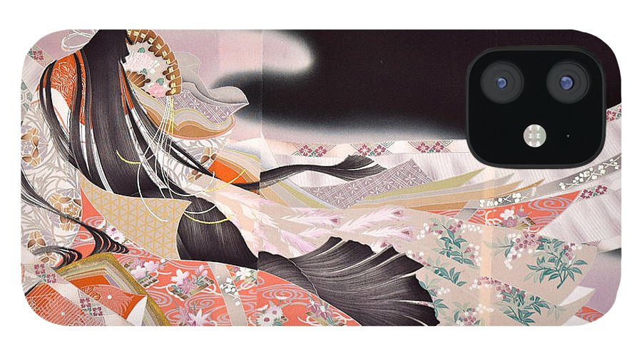IPhone 12 Case featuring the digital art Spirit of Japan T22 by Miho Kanamori