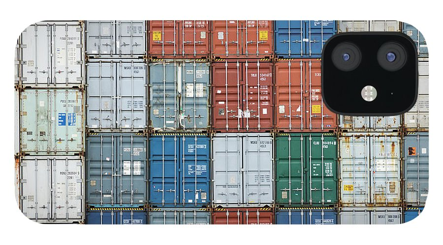 Trading IPhone 12 Case featuring the photograph Stack Of Cargo Containers Full Frame by Andy Andrews