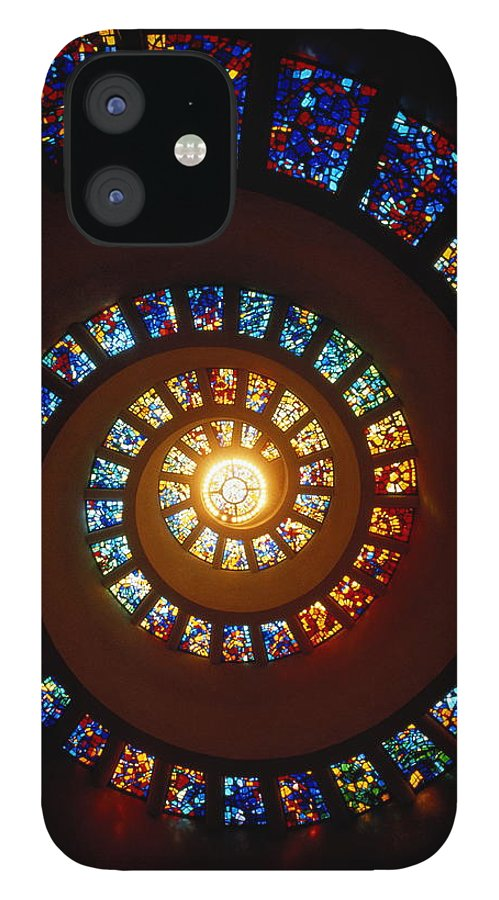 Directly Below IPhone 12 Case featuring the photograph Stained Glass Window, Thanksgiving by John Elk Iii