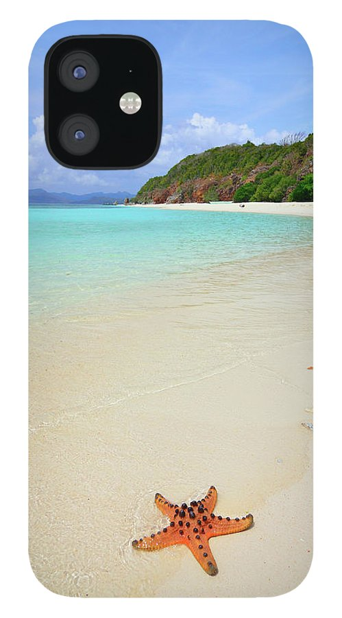 Water's Edge IPhone 12 Case featuring the photograph Starfish On Beach Sand by Joyoyo Chen