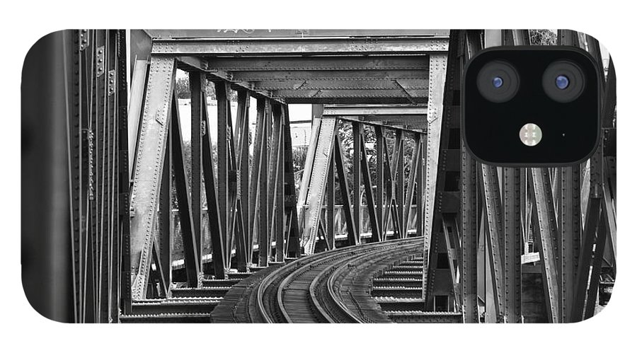 Railroad Track IPhone 12 Case featuring the photograph Steel Girder Railway Bridge by Peterjseager