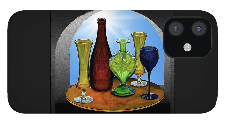 Still Life iPhone 12 Case featuring the painting Still Life with Bottles by Hugo Heikenwaelder