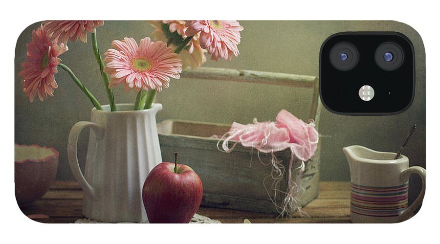 Spoon IPhone 12 Case featuring the photograph Still Life With Pink Gerberas And Red by Copyright Anna Nemoy(xaomena)
