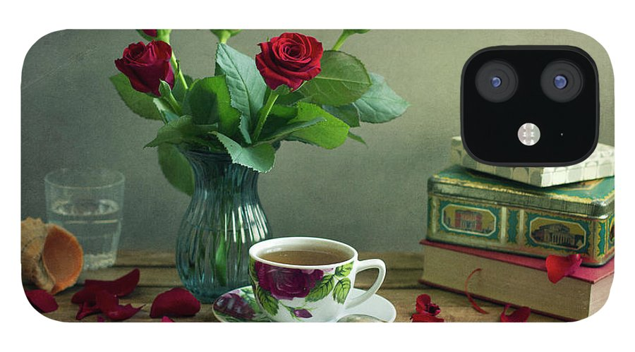 Education iPhone 12 Case featuring the photograph Still Life With Red Roses by Copyright Anna Nemoy(xaomena)