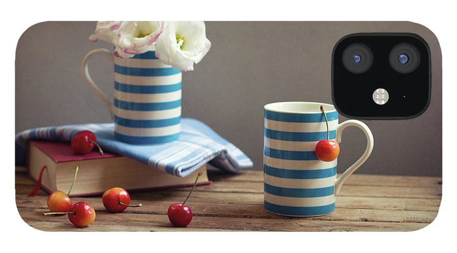 Cherry iPhone 12 Case featuring the photograph Still Life With Striped Cups by Copyright Anna Nemoy(xaomena)