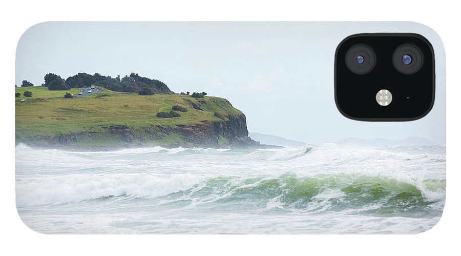 Tide iPhone 12 Case featuring the photograph Storm Swell Waves On A Beach by David Freund