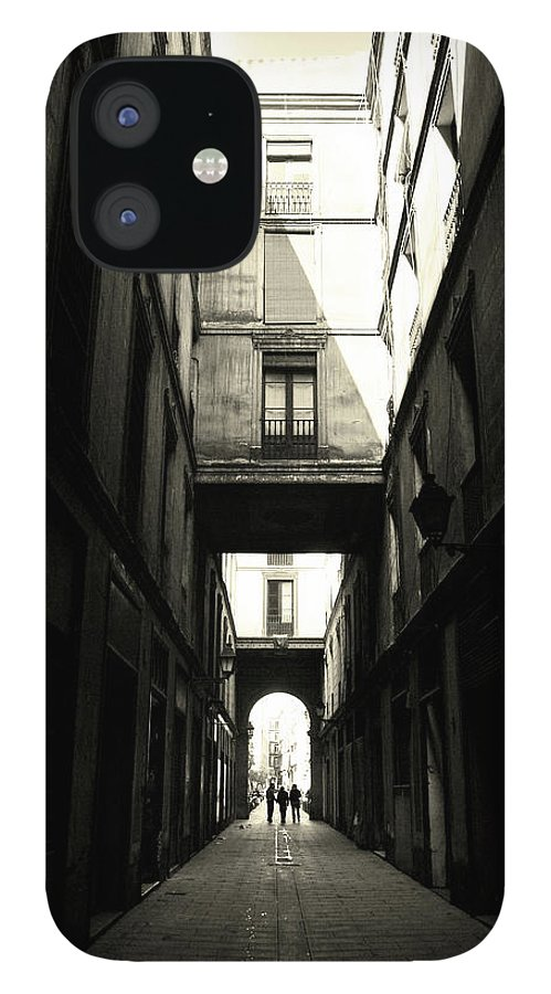 Arch IPhone 12 Case featuring the photograph Street In Barcelona by Maria Fernandez