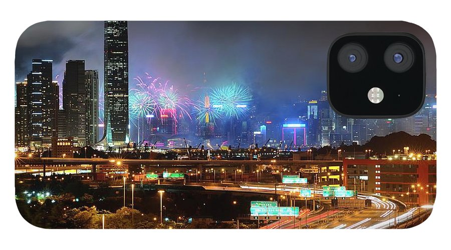 Firework Display IPhone 12 Case featuring the photograph Street Light Crosses Firework by Eddymtl