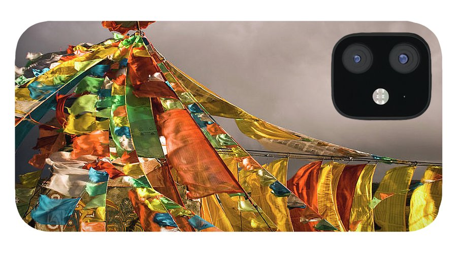 Chinese Culture IPhone 12 Case featuring the photograph Stupa, Buddhist Altar In Tibet, Flags by Stefano Tronci
