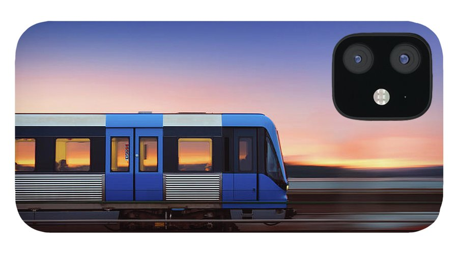 Train IPhone 12 Case featuring the photograph Subway Train In Profile Crossing Bridge by Olaser