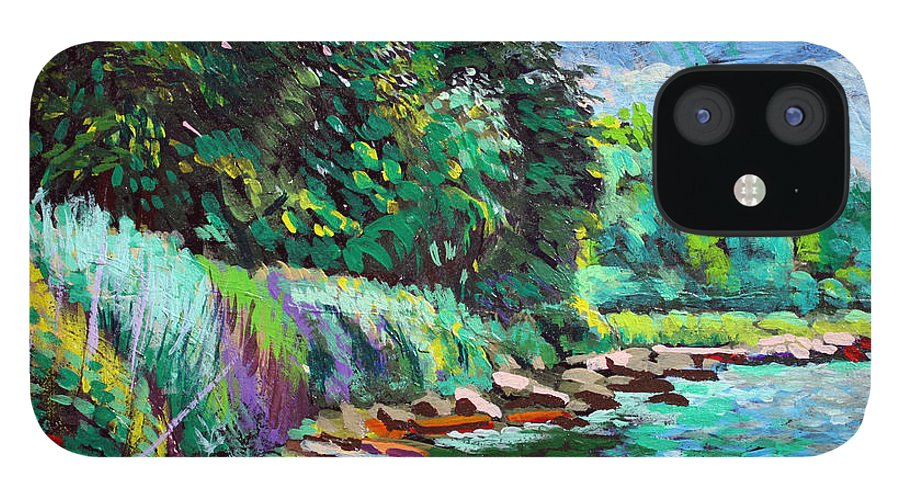 Tranquility iPhone 12 Case featuring the digital art Summer Shore Of Hudson River, New York by Charles Harker