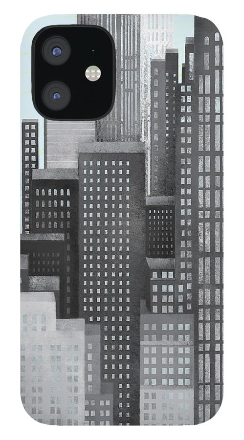 Part Of A Series IPhone 12 Case featuring the digital art Sun And Skyscrapers by Jutta Kuss