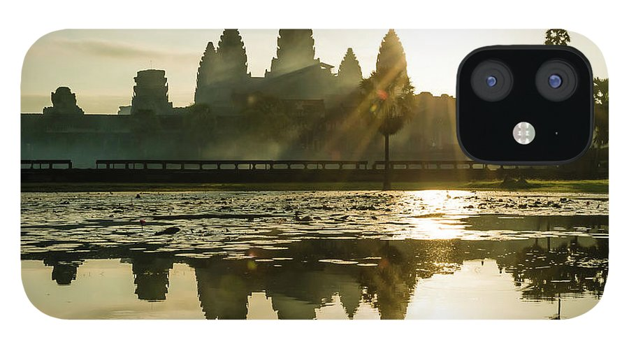 Tranquility IPhone 12 Case featuring the photograph Sunrise At Angkor Wat by Matt Davies Noseyfly@yahoo.com