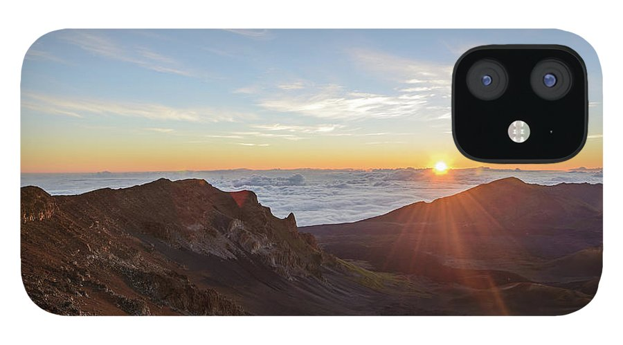 Scenics IPhone 12 Case featuring the photograph Sunrise At Haleakala by Photo By Robert Vaughn