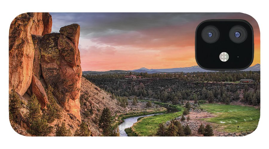 Scenics IPhone 12 Case featuring the photograph Sunset At Smith Rock State Park In by David Gn Photography