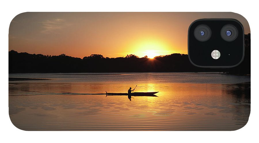 Water's Edge IPhone 12 Case featuring the photograph Sunset Kayaking In Lake Of The Isles by Yinyang
