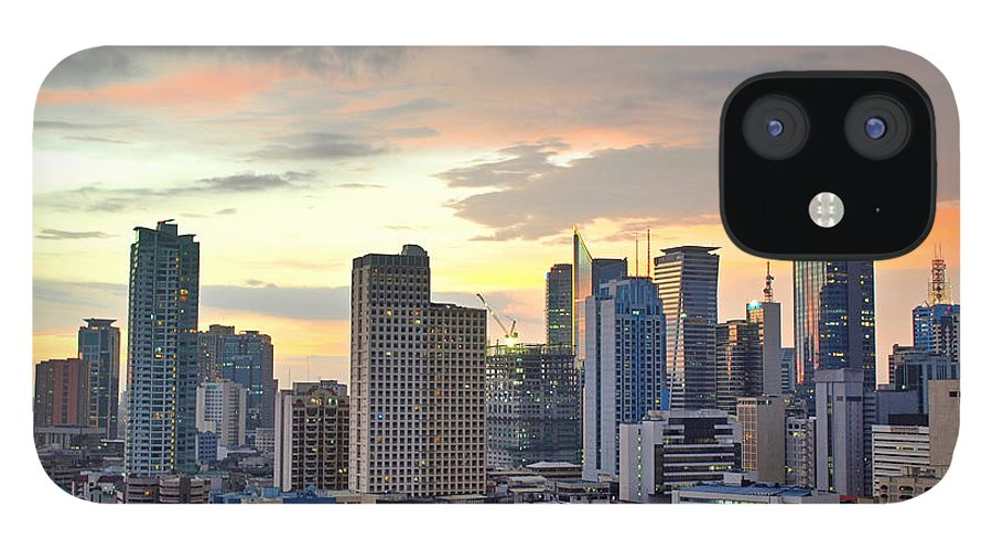 Outdoors IPhone 12 Case featuring the photograph Sunset Over Makati City, Manila by Neil Howard
