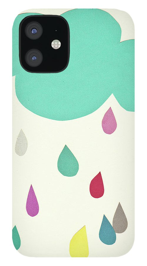 Clouds IPhone 12 Case featuring the mixed media Sunshine and Showers by Cassia Beck