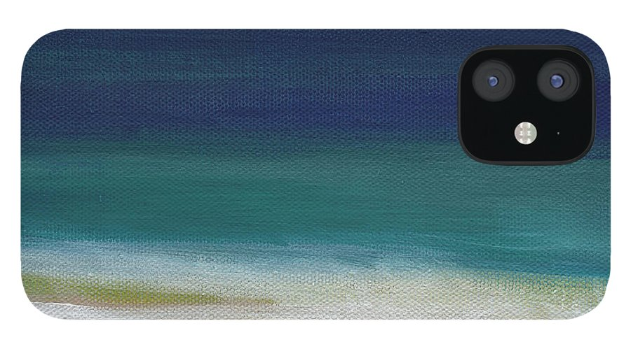 Abstract IPhone 12 Case featuring the painting Surf and Sky- abstract beach painting by Linda Woods