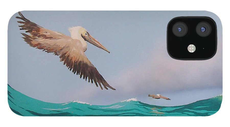 Pelicans IPhone 12 Case featuring the painting Surfing by Philip Fleischer