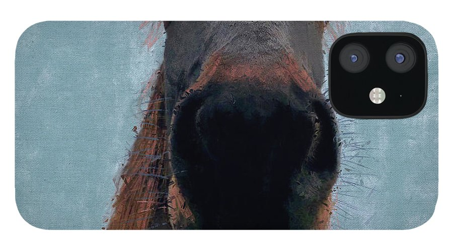 Horse IPhone 12 Case featuring the mixed media Sussex Horse, 2019, Mixed Media by Sylver Bernat