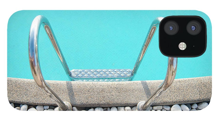 Tranquility IPhone 12 Case featuring the photograph Swimming Pool With White Pebbles by Lawren
