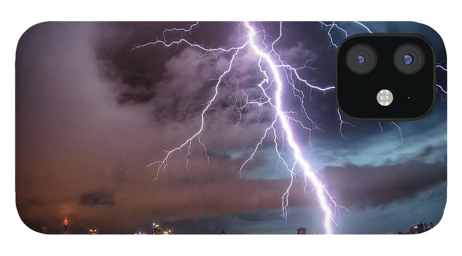 Tranquility IPhone 12 Case featuring the photograph Sydney Summer Lightning Strike by Australian Land, City, People Scape Photographer