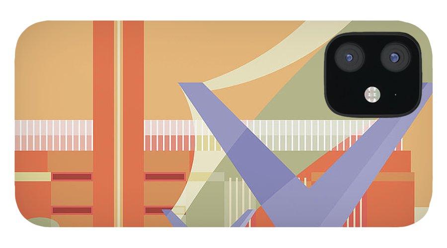London Millennium Footbridge iPhone 12 Case featuring the digital art Tate Gallery And Millennium Bridge by Nigel Sandor