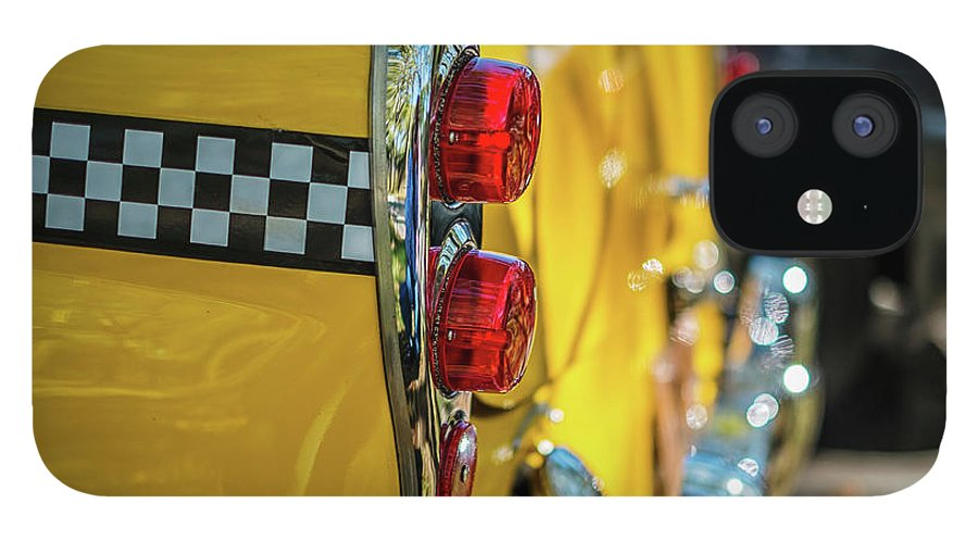 Outdoors IPhone 12 Case featuring the photograph Taxi Tail Light, New York City, New by Kai Sarton