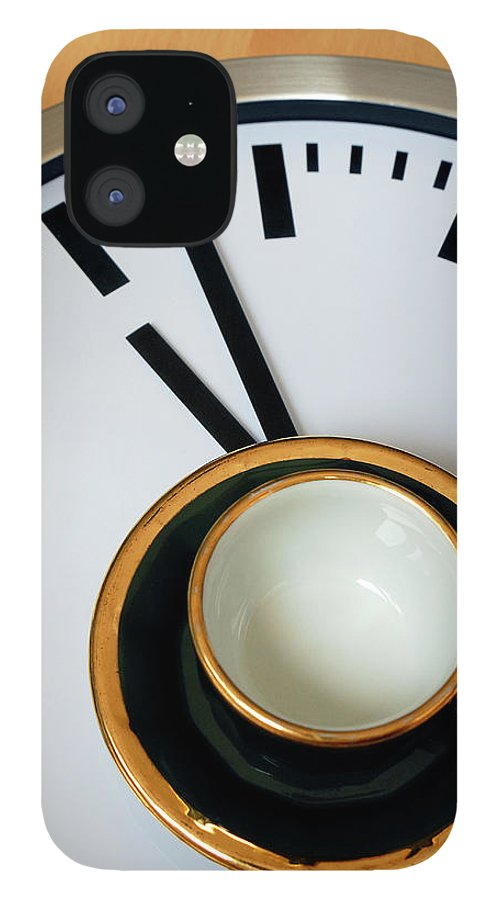 Coffee iPhone 12 Case featuring the photograph Teacup On A Clock by Eversofine