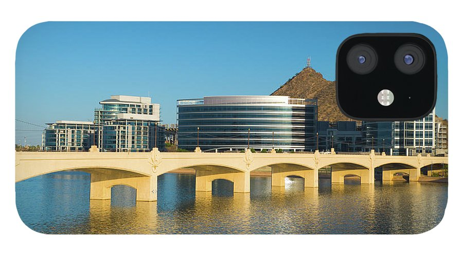 Salt River iPhone 12 Case featuring the photograph Tempe Skyline, River, And Bridge by Davel5957