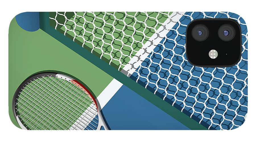 Play iPhone 12 Case featuring the digital art Tennis Court by Nikola Knezevic