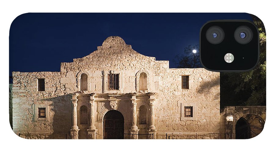 Outdoors IPhone 12 Case featuring the photograph The Alamo, San Antonio Texas With Full by Dhughes9